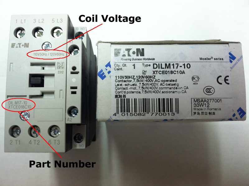 XTCE032_coil_lg xtce025c10 eaton contactor rated at 25 amps with an ac or dc coil eaton dilm25-10 wiring diagram at couponss.co